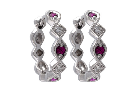 L028-45914: EARRINGS .20 RUBY .25 TGW